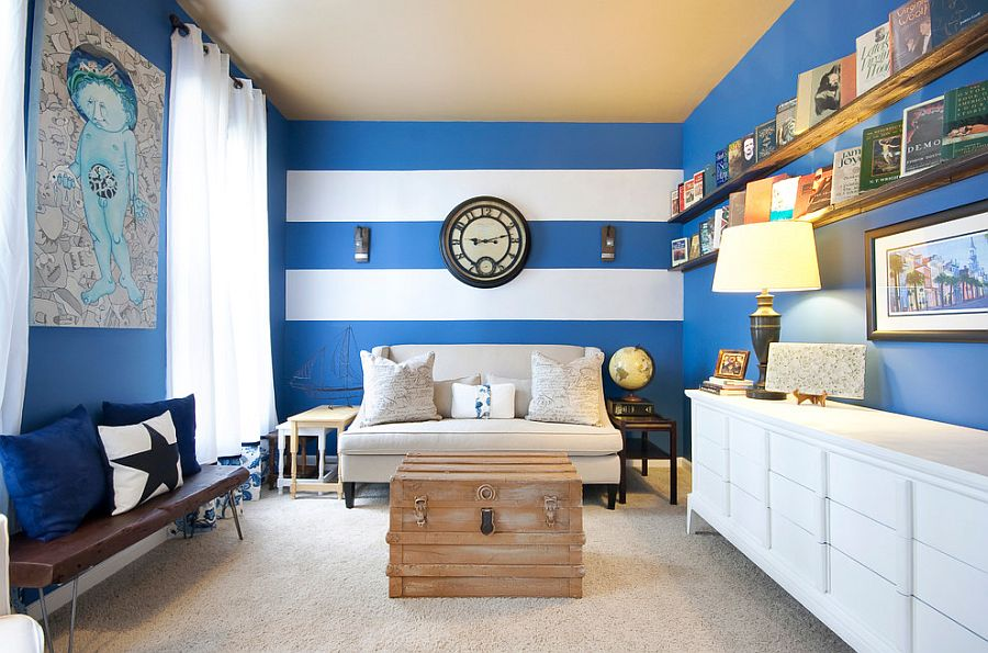 Narrow Living Room With A Striped Accent Wall Photography Matthew Bolt Graphic Design