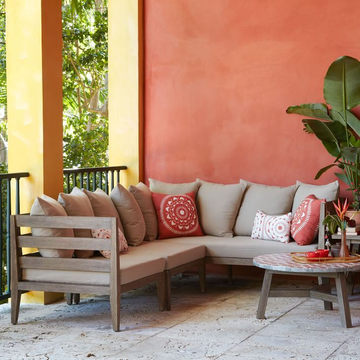 Neutral sectional from West Elm Outdoor Seating Solutions for Spring