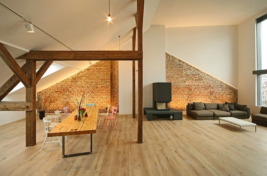 Nifty use of space in the loft home with indsutrial overtones