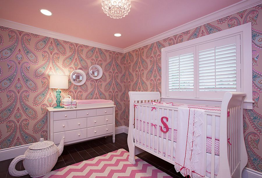 View In Gallery Nursery In Pink With Plenty Of Pattern [Design: B. Design /  Bracketing Photography