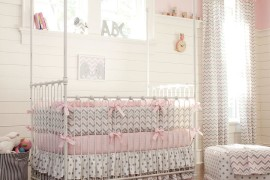 Nursery with polka dots and chevron pattern!