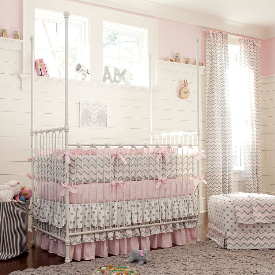 Nursery with polka dots and chevron pattern! [Design: Carousel Designs]