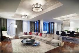 Open plan living area of the condominiums exudes the trademark style of Ritz-Carlton