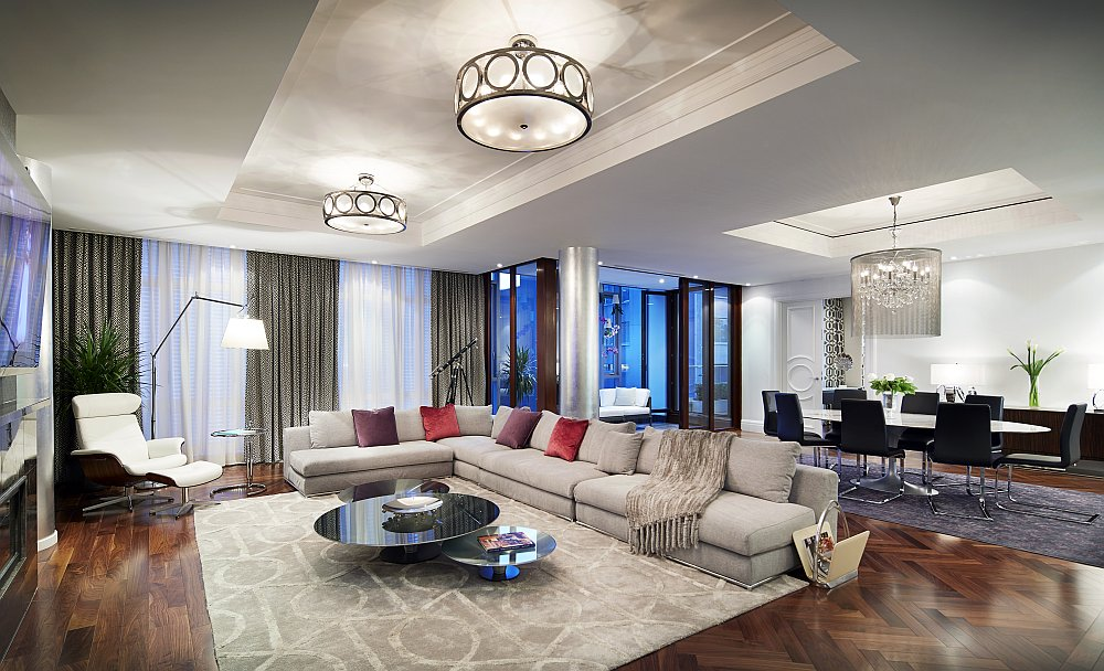 Open plan living area of the condominiums exudes the trademark style of Ritz-Carlton