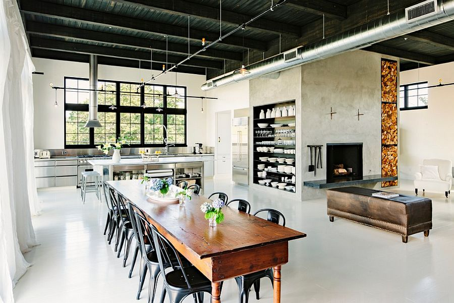 30 ways to create a trendy industrial dining room for Industrial farmhouse plans