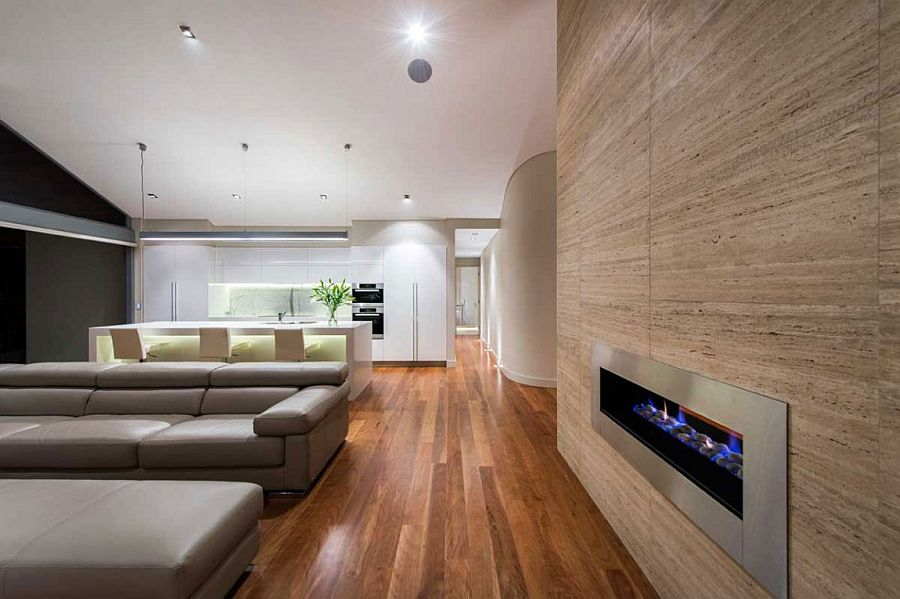 Open plan living area with lovely use of texture