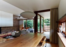 Open plan living area with midcentury modern style