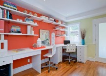 Open white shelves and desks add to the impact of orange in the home office 217x155 Hot Trend: 25 Vibrant Home Offices with Bold Orange Brilliance