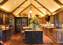 Opulent Dark-Toned Kitchen with Built-Ins