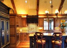 Opulent Kitchen with Built-In Refrigerator