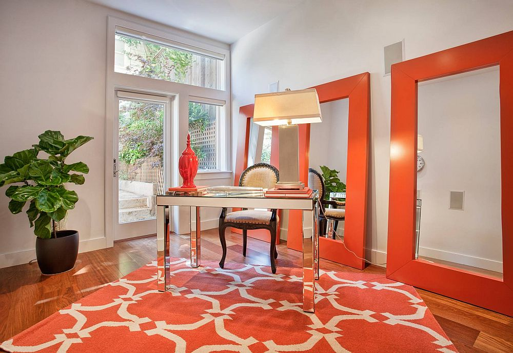 Orange mirror frames bring drama to the home office Hot Trend: 25 Vibrant Home Offices with Bold Orange Brilliance