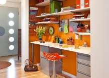 Organized home office in beautiful orange
