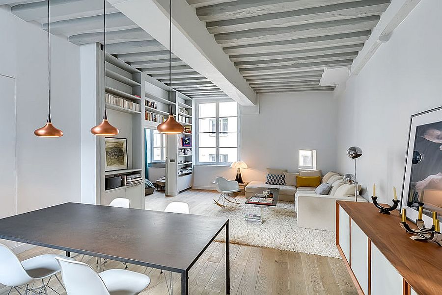 Painted ceiling beams add to the classic appeal of the small apartment