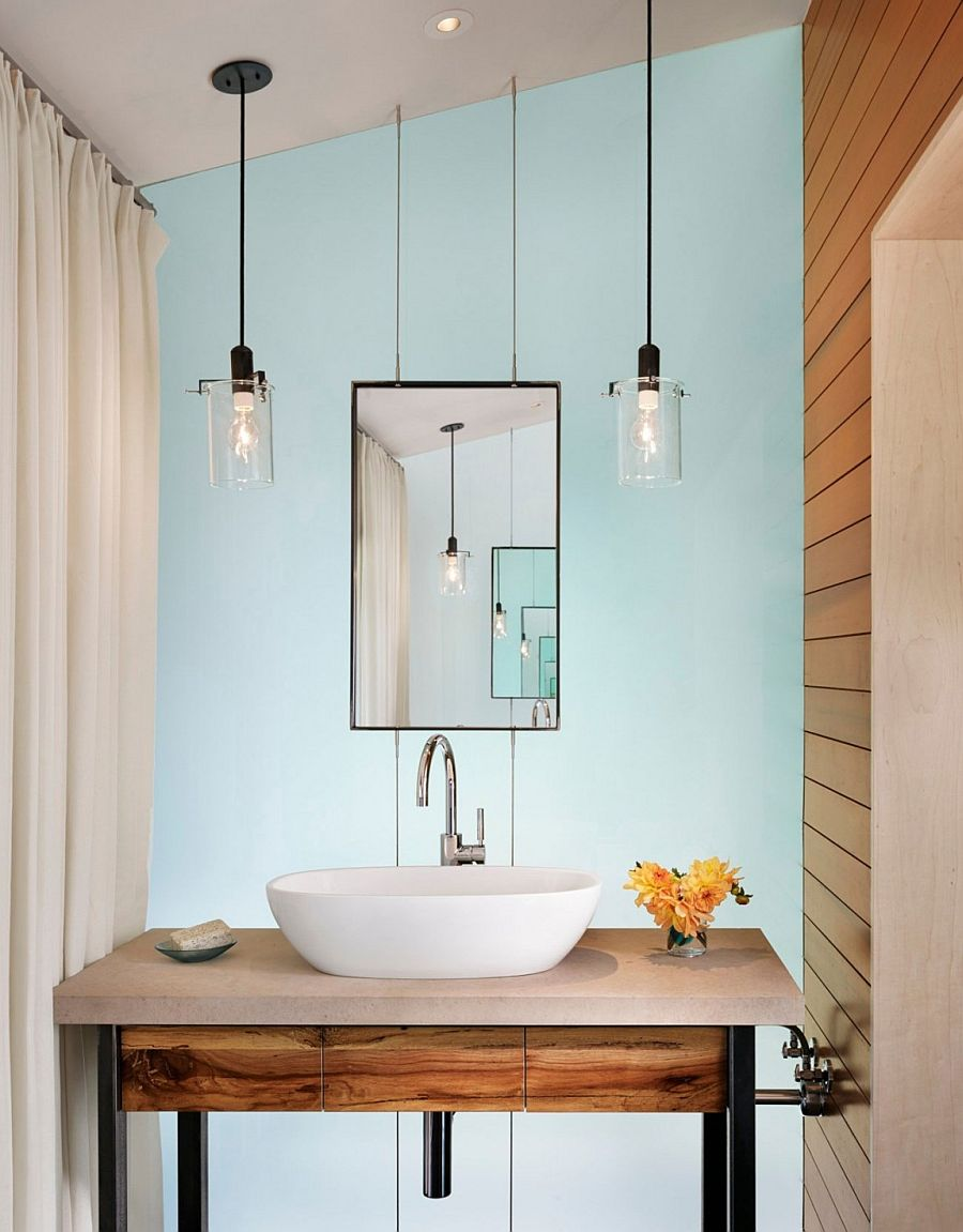 Pendant lighting idea for the small powder room and bathroom