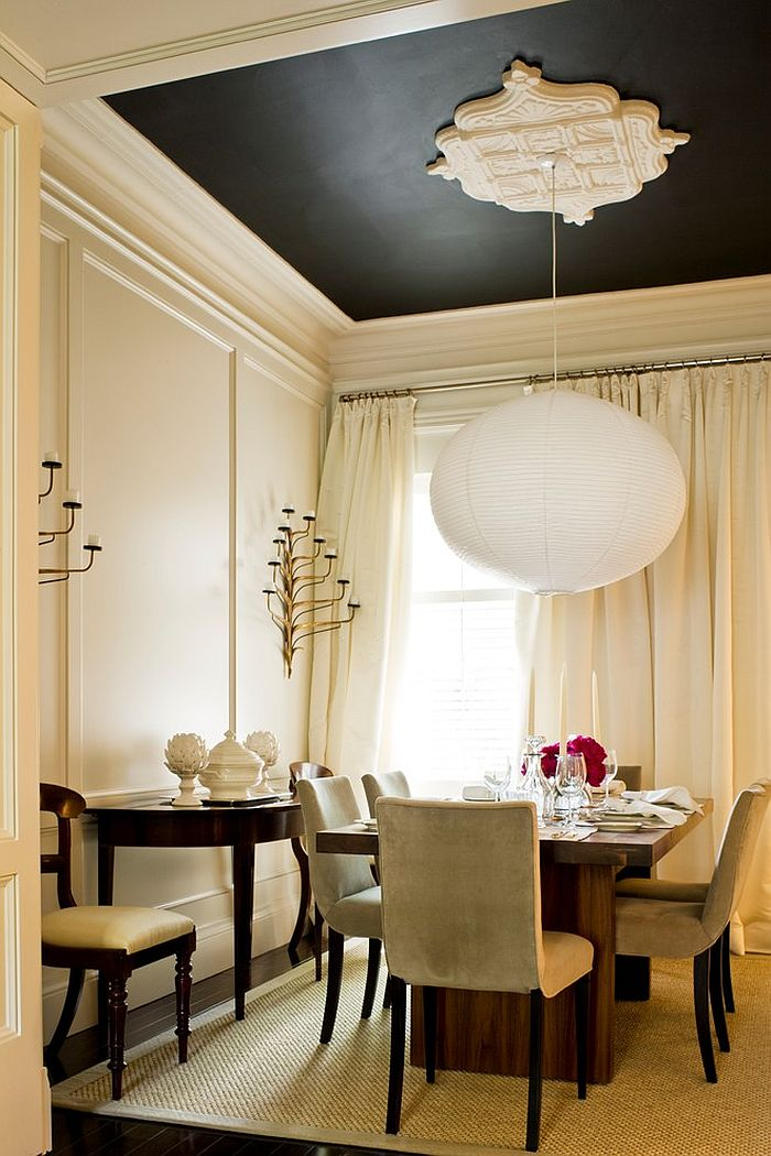 Pendant lighting steals the show in this dining room