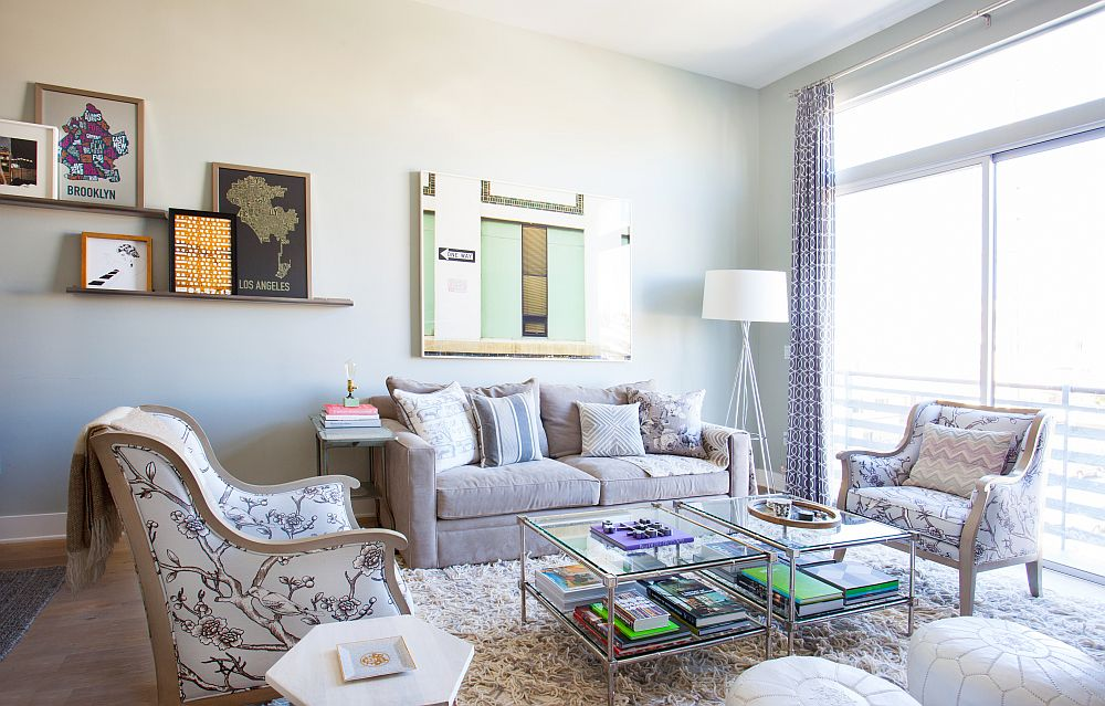 Picture ledges help fill up the blank walls elegantly
