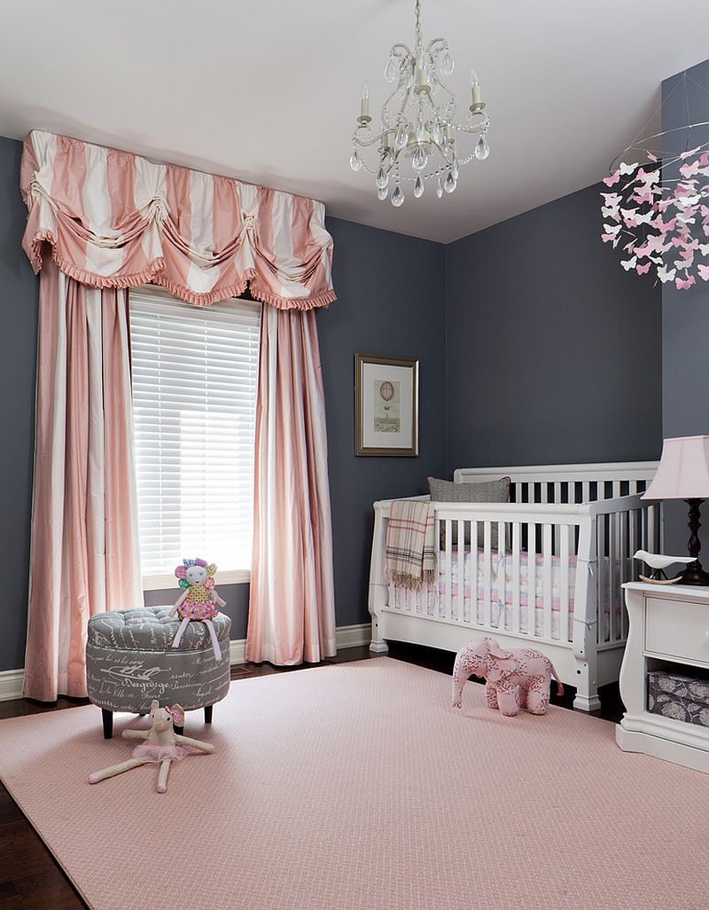 Pink additions in this gray nursery can be easily switched out [Design: Merigo Design]