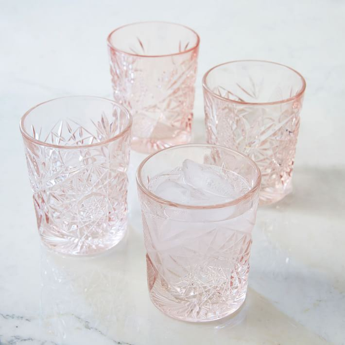 Pink glassware from West Elm