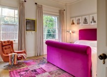 Plush decor and a splash of fuchsia in the master bedroom