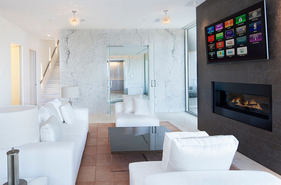 Plush white decor in the living area