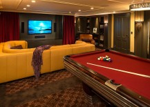 Pool table makes the basement home theater even more entertaining