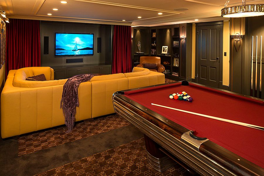 Pool table makes the basement home theater even more entertaining [Design: White Space Architecture]