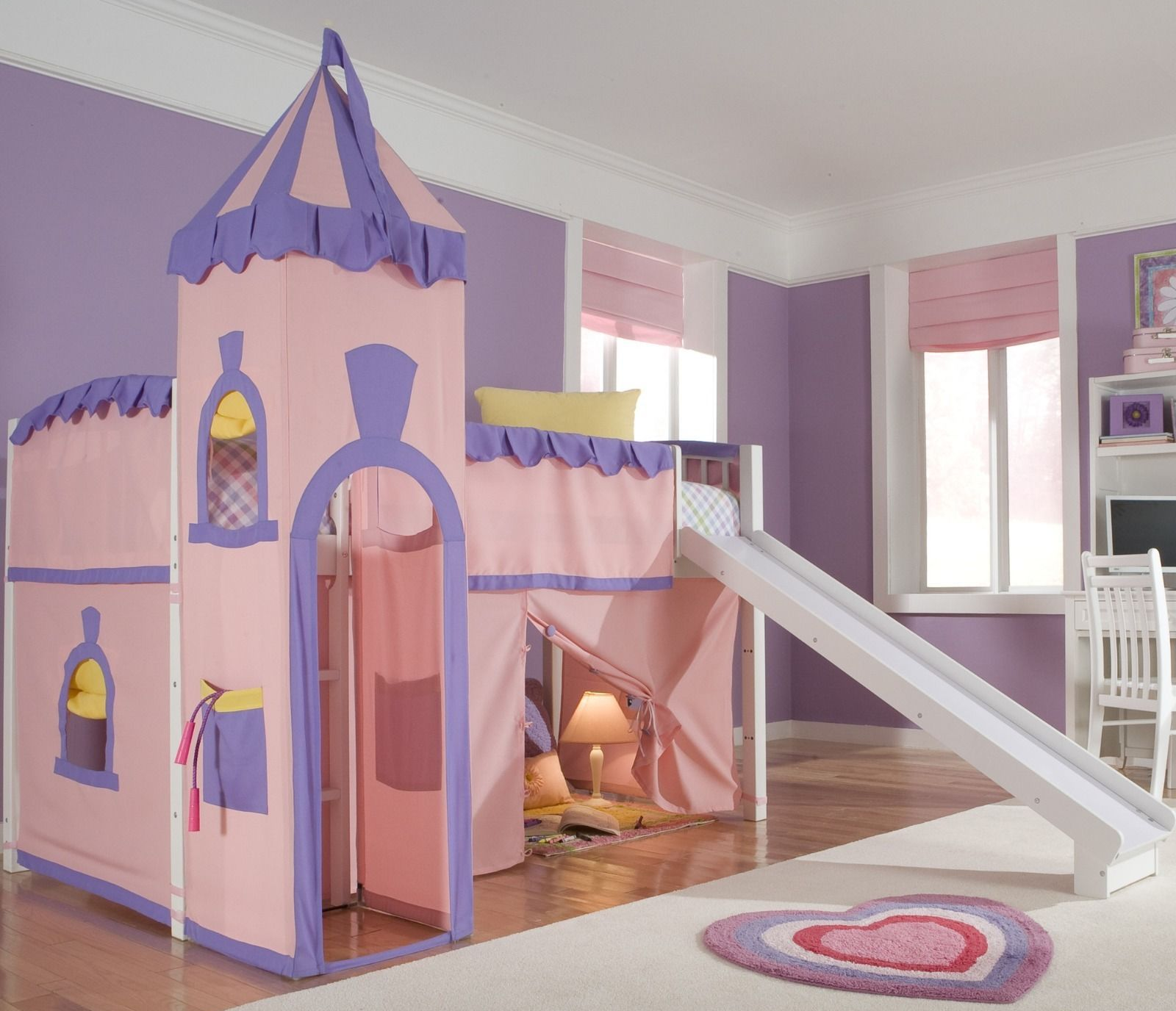 Princess Pink Loft Bed with Slide