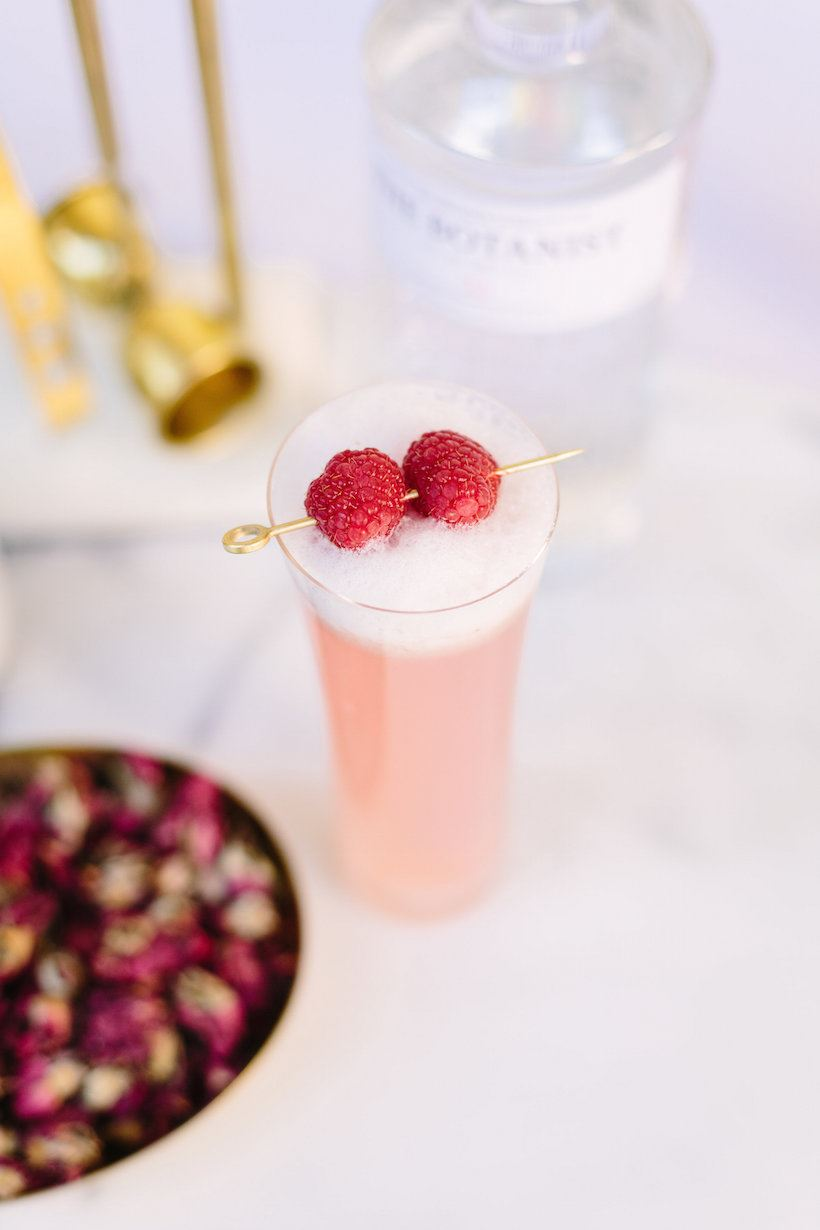 Raspberry rose cocktail featured at Camille Styles