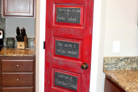 Red Chalkboard Pantry Door  8 Pretty Pantry Door Ideas That Showcase Your Storeroom as a Star Red Chalkboard Pantry Door 270x180