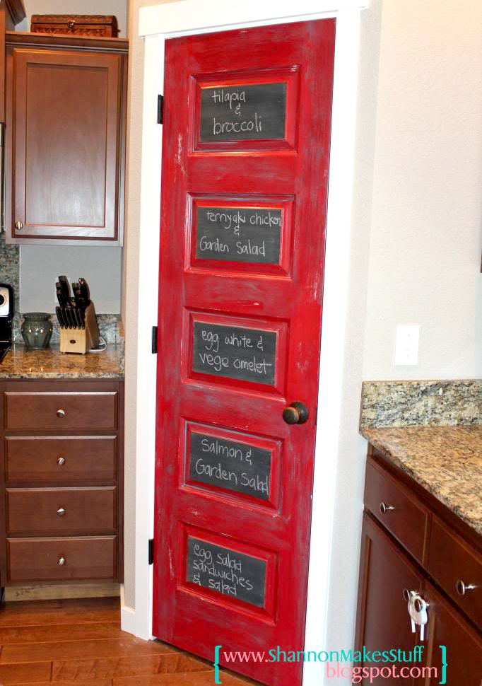 Red Chalkboard Pantry Door  8 Pretty Pantry Door Ideas That Showcase Your Storeroom as a Star Red Chalkboard Pantry Door
