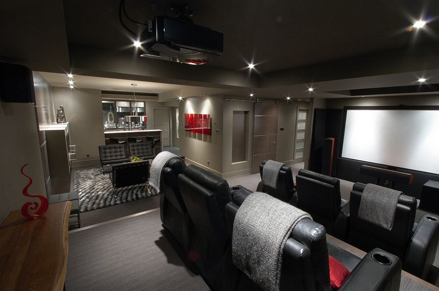 Home Theater Design Ideas home theater room design for goodly home theater design ideas remodels photos houzz creative Refined Basement Bar And Home Theater With Dark Ambiance Design The Electric Brewery