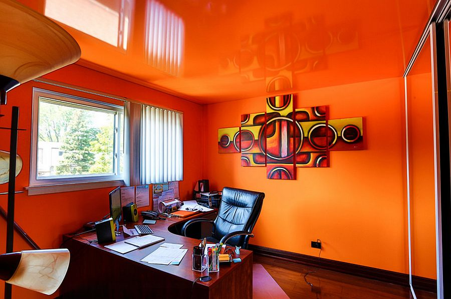Reflective ceiling turns the home office into a world of orange [Design: Innovative Coverings]