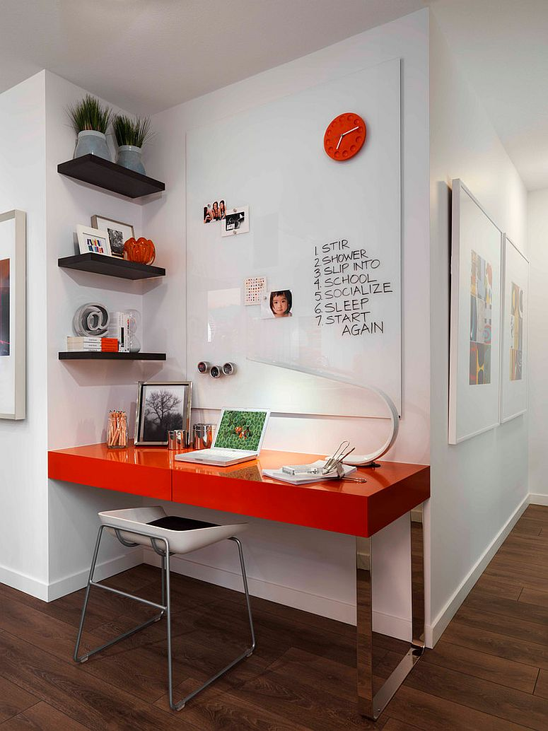 repeat orange in more than one place to bring beauty to the room design