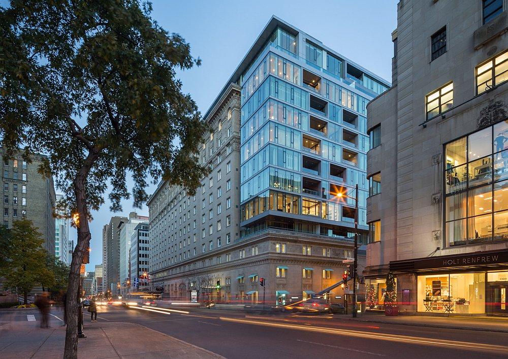 Restored facade of the Ritz-Carlton, Montreal Residences