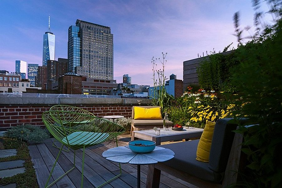 Rooftop garden of the renovated NYC loft