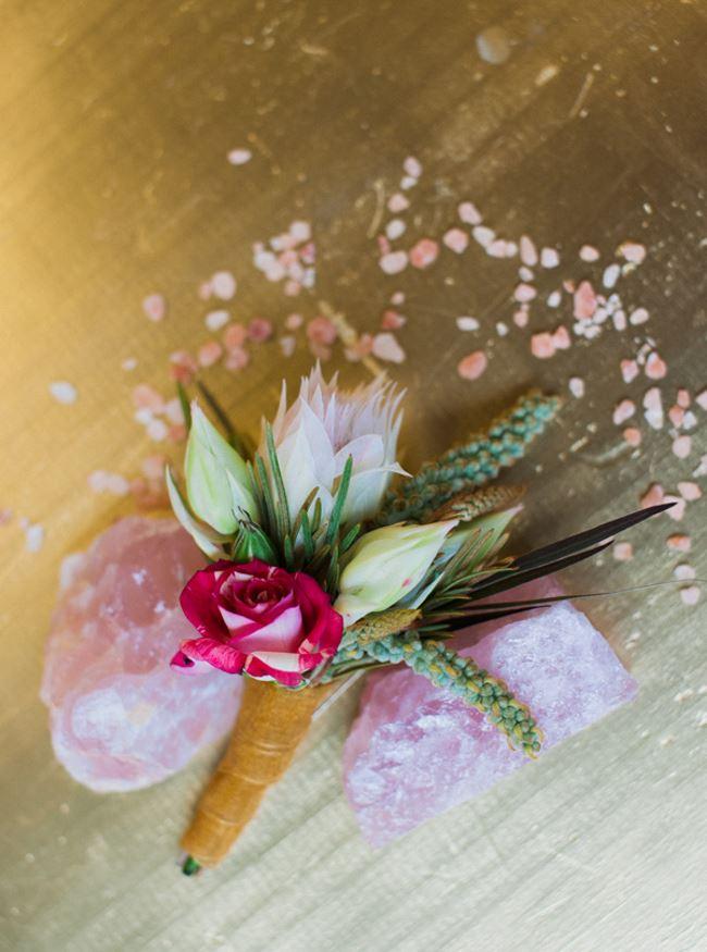 Rose quartz specimens and blossoms