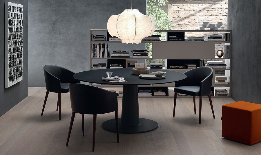 Rounde table in black with frosted lacquered glass top