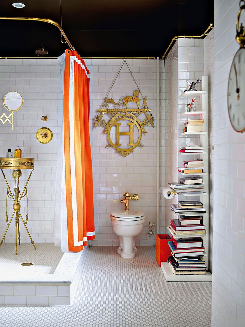 Sapien Bookcase adds elegance to the eclectic bathroom in black and white