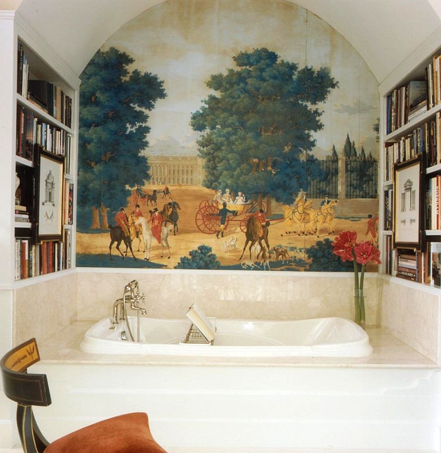 Secluded little niche for you and your books in the bathroom