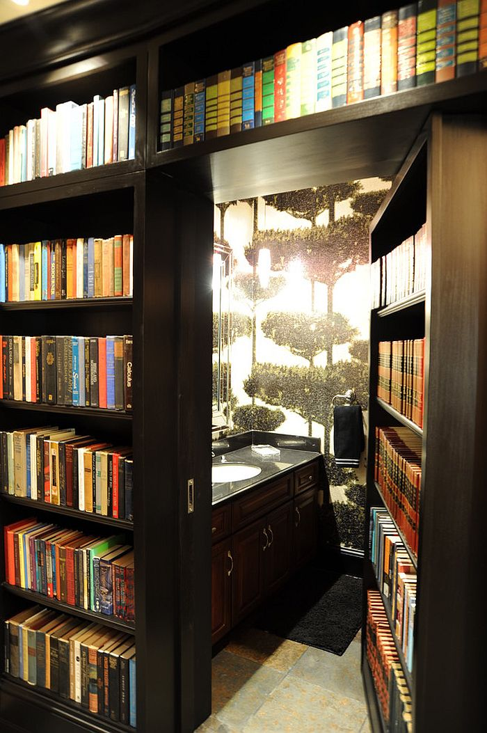 Secret bathroom hidden behind home library! [Design: Savvy Surrounding Style]