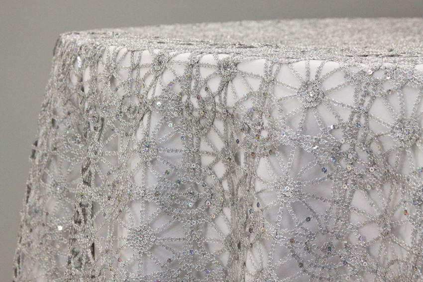 Sequin lace table overlay from DinDin Decor