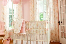 Shabby chic baby girls' bedroom in pink
