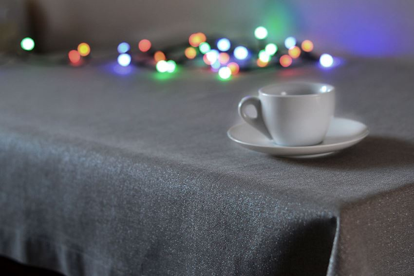 Shiny linen tablecloth from Linen Life Ideas Make Your Next Party Shimmer with a Silver Tablecloth
