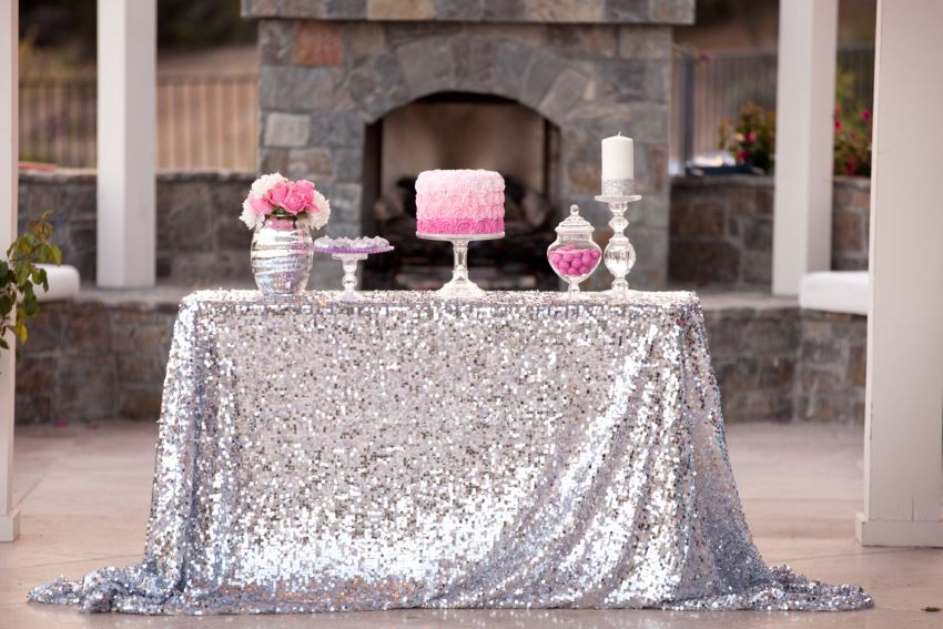 Silver sequin tablecloth from Candy Crush Events