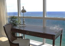 Simple and eclectic home office with stunning ocean view