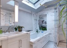 Skylight breathes life into the smart, contemporary white bathroom