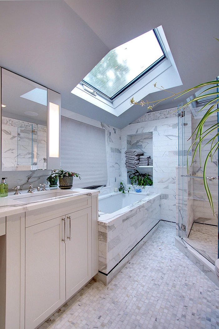 ... Smart, Contemporary White Bathroom With Skylight [Design: JFR Builders]