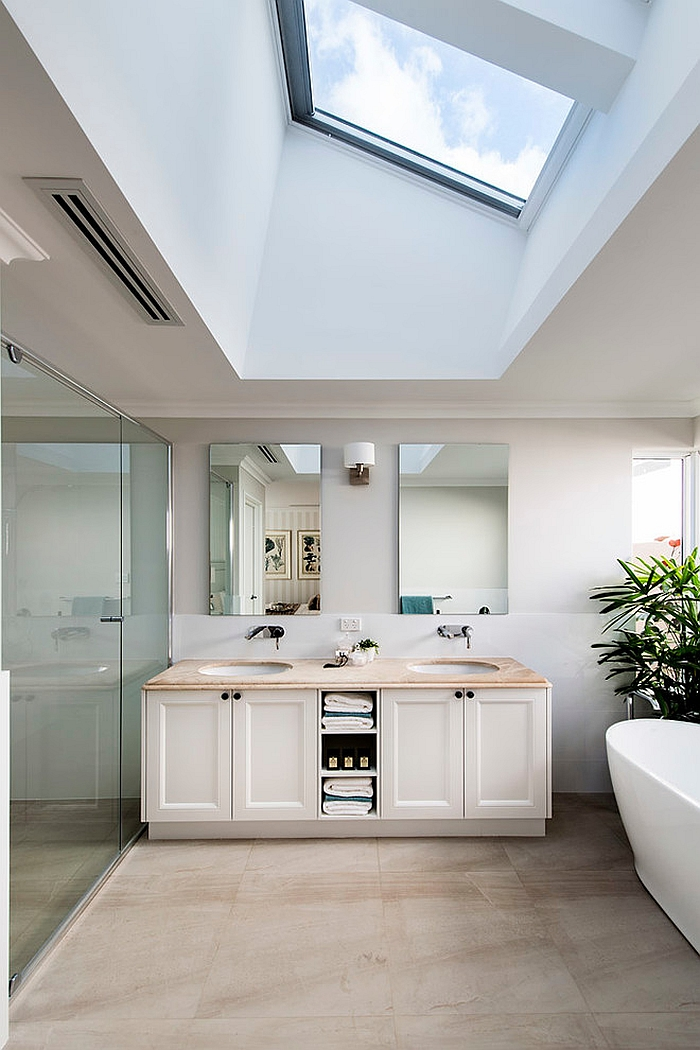 Skylight brings drama and elegance to the contemporary bath [Design: Webb & Brown-Neaves]