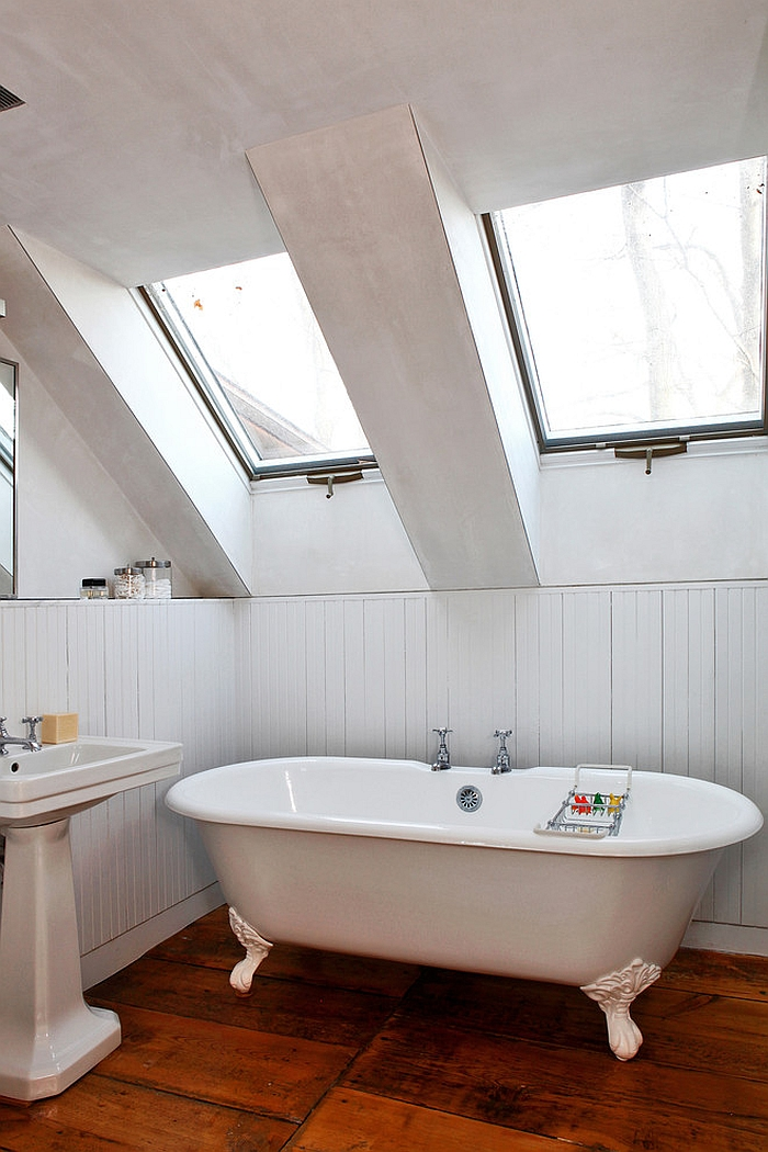 Skylights turn the attic bathroom into a relaxing retreat