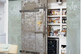 Sliding Pantry Door and Chalkboard Wall  8 Pretty Pantry Door Ideas That Showcase Your Storeroom as a Star Sliding Pantry Door and Chalkboard Wall 270x180